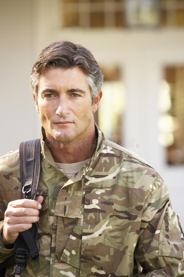Soldier Returning To Unit After Home Leave royalty free stock photos