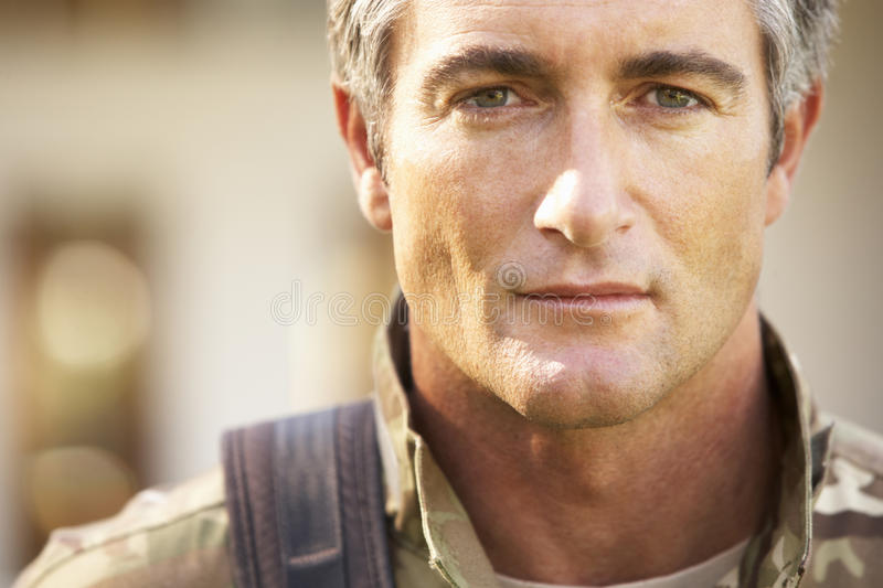 Soldier Returning To Unit After Home Leave stock image