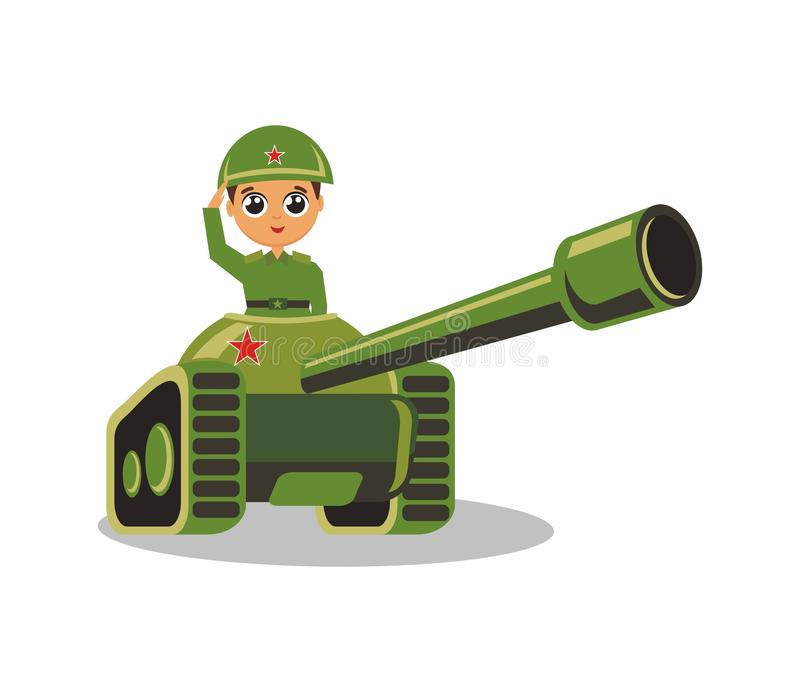 The soldier rides a tank in a helmet stock illustration
