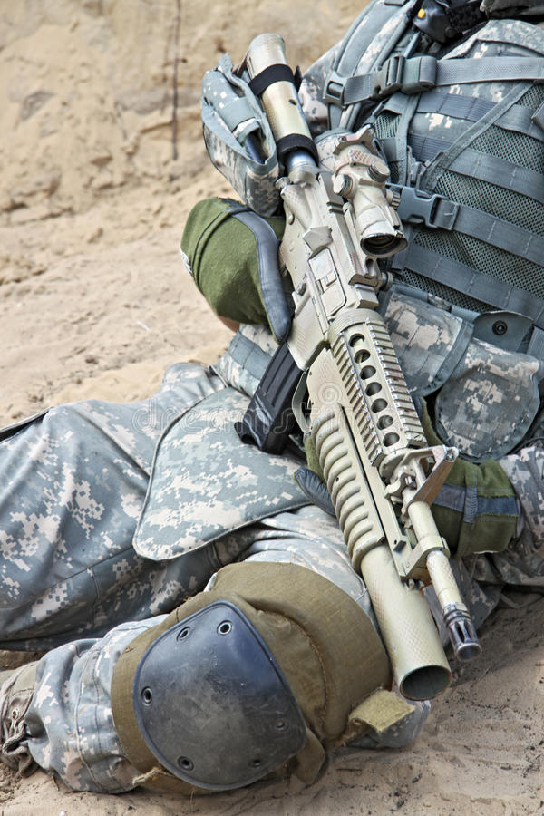 Soldier with rifle royalty free stock photo