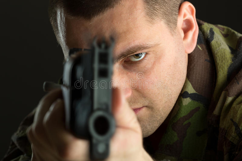 Soldier with rifle AK-47 stock photography