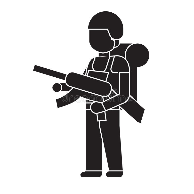 Soldier with a rifle black vector concept icon. Soldier with a rifle flat illustration, sign vector illustration