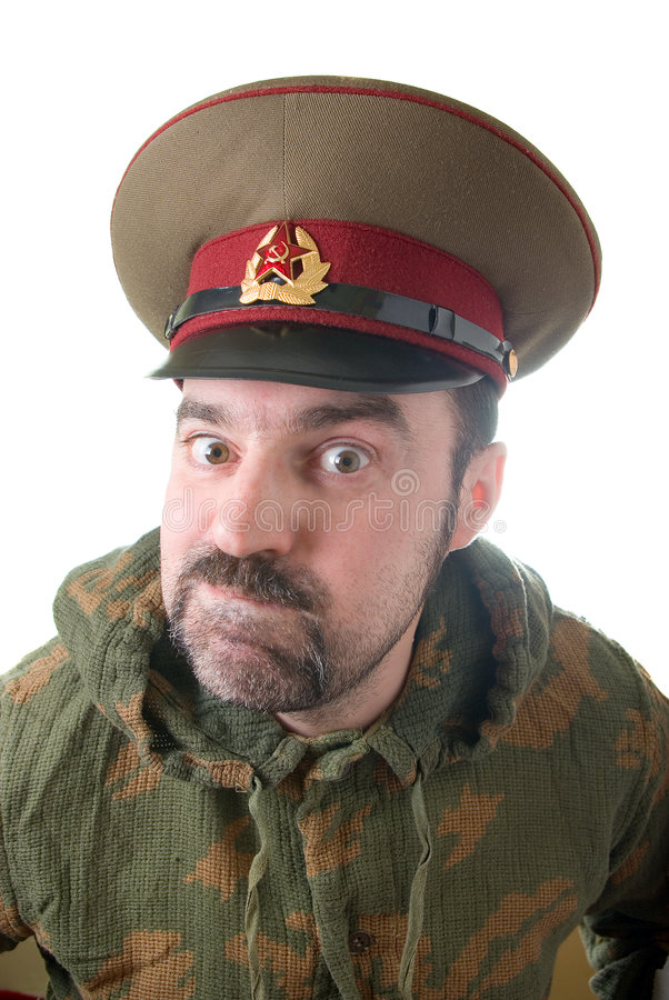 The soldier in the Russian military form stock images