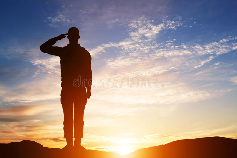 Soldier salute. Silhouette on sunset sky. Army, military. royalty free illustration
