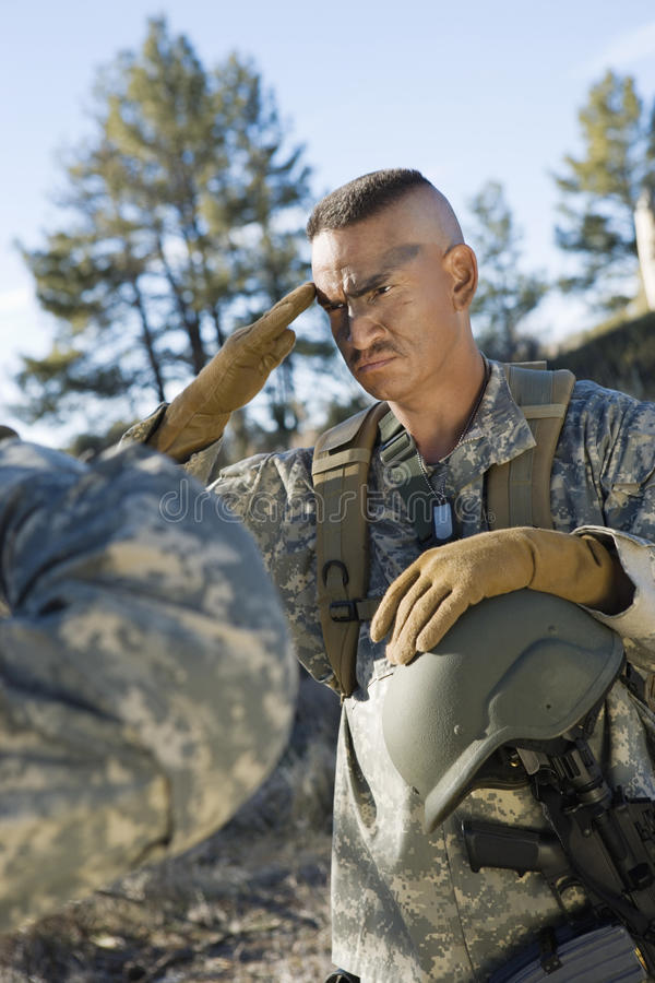 Soldier Saluting. US army soldier saluting stock images
