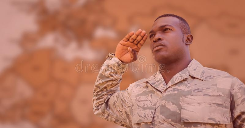 Soldier saluting against blurry brown map with red overlay. Digital composite of Soldier saluting against blurry brown map with red overlay vector illustration