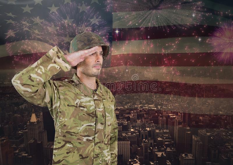 Soldier saluting on independence day background royalty free stock image
