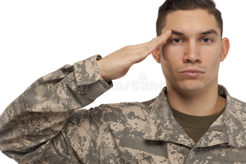 Soldier saluting stock photography