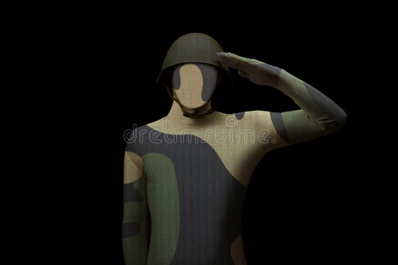 Soldier saluting standing on black background. Man without a Face. Army concept royalty free stock photos
