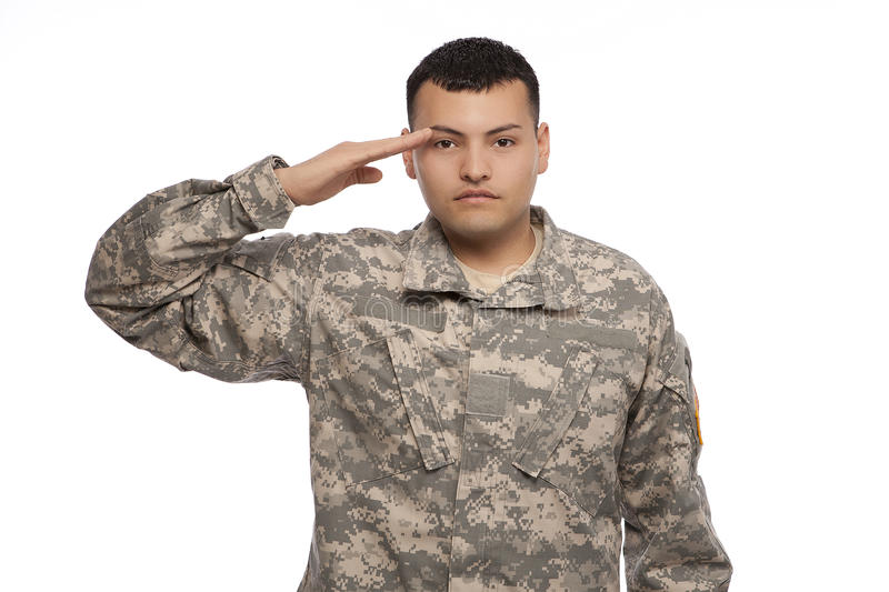 Soldier rendering a salute royalty free stock image
