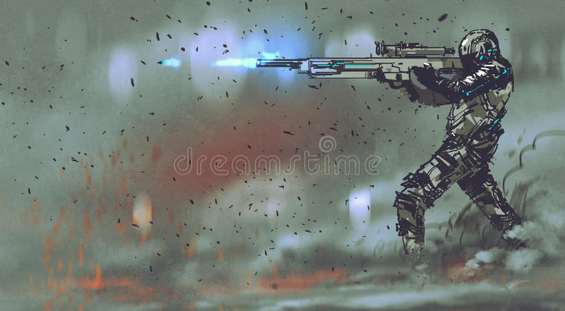 Soldier shooting gun with futuristic concept vector illustration