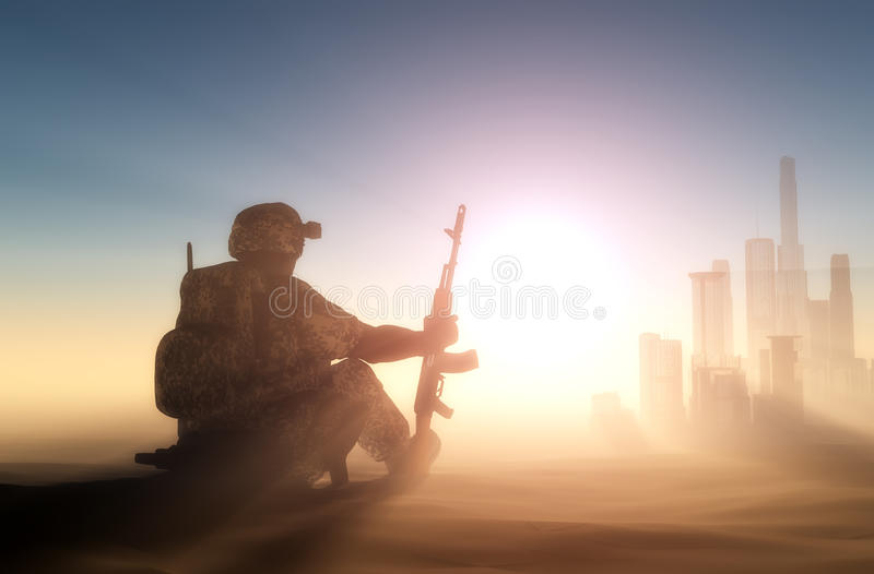 Soldier. Silhouette of a soldier against the sun royalty free illustration