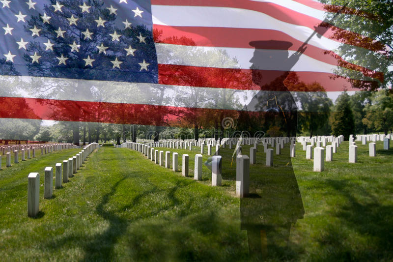 Soldier silhouette and american flag. Great for 4th of July, Memorial Day, Labour day or Flag day. Grave stones in a row with a soldier silhouette and an US stock photography
