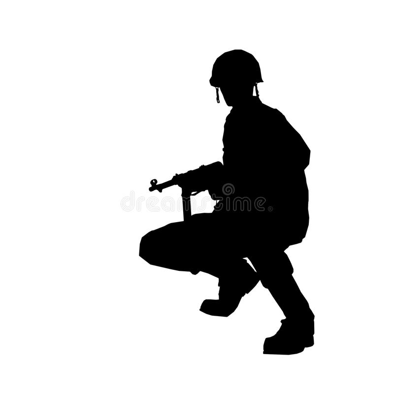 SOLDIER. Silhouette with helmet made in 3d software royalty free illustration
