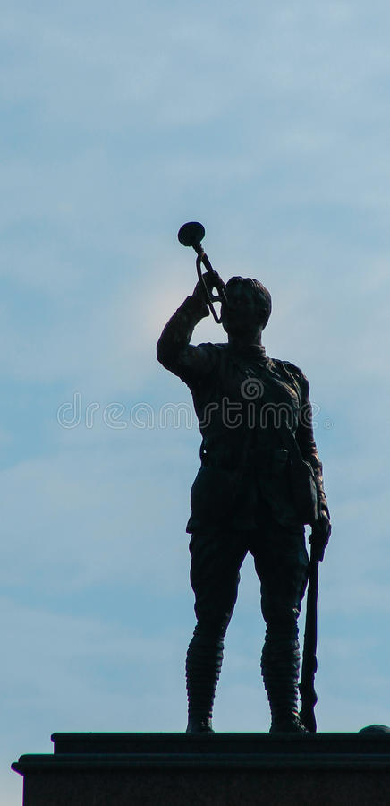 Soldier Silhouette w/bugle stock image