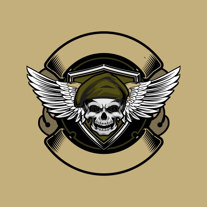 Soldier skull head with beret and wing vector ribbon logo round template. Clothing company and sticker military theme vector illustration
