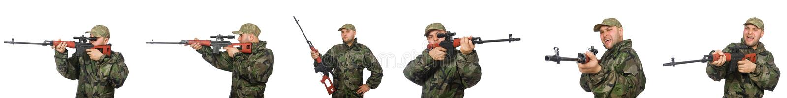 The soldier with sniper rifle isolated on white stock images