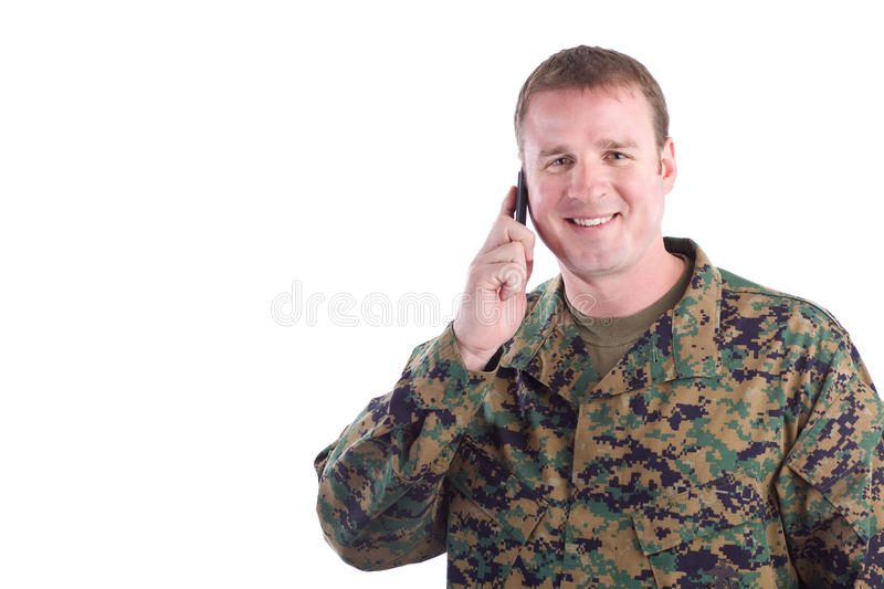 Soldier Talking on the Phone stock images