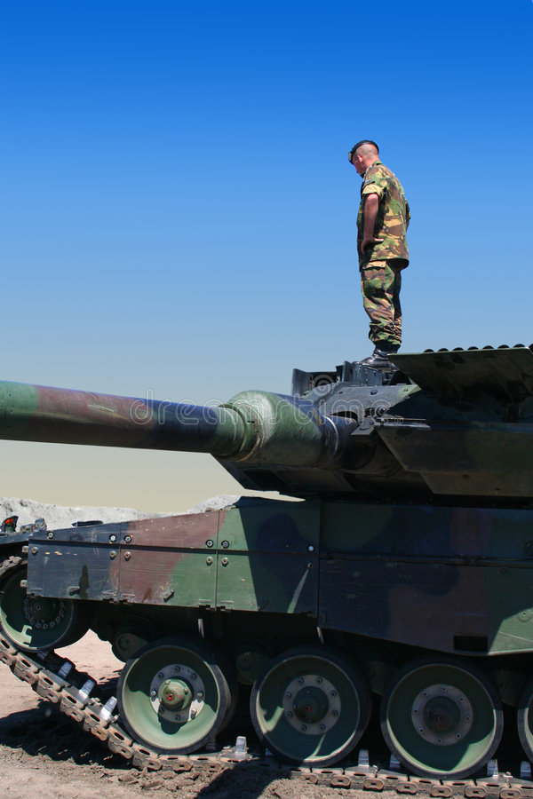 Soldier on tank royalty free stock photo