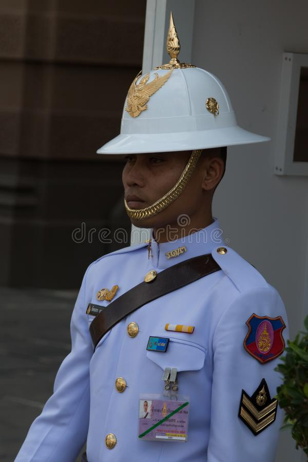 Soldier from Thai King`s Guards on sentry duty at Grand Palace, Bangkok, Thailand stock photos