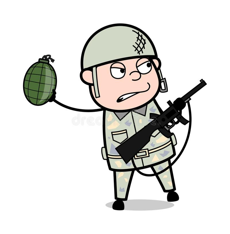 Soldier Throwing Bomb - Cute Army Man Cartoon Soldier Vector Illustration. Cute Army Man Cartoon Soldier Vector Illustration and simple clip-art design vector illustration