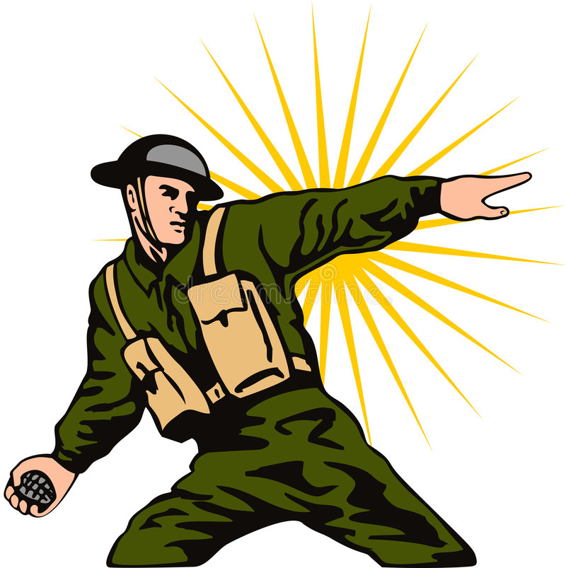 Soldier throwing a grenade vector illustration