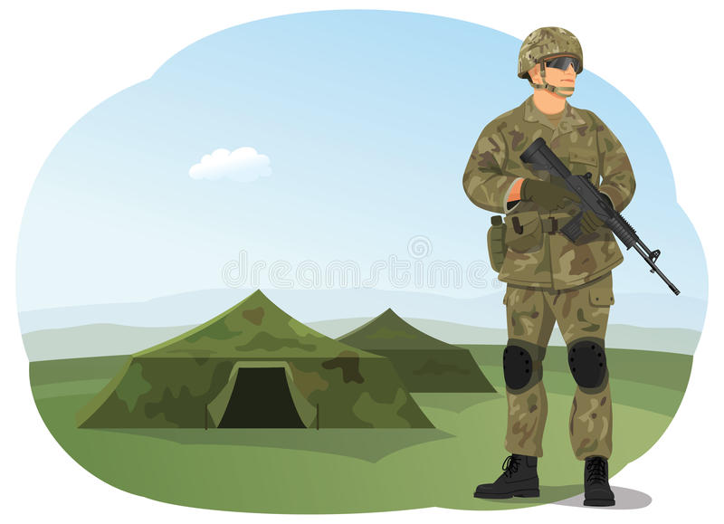 Soldier. In uniform, ready to fight. Army camp. Military tents on the background vector illustration