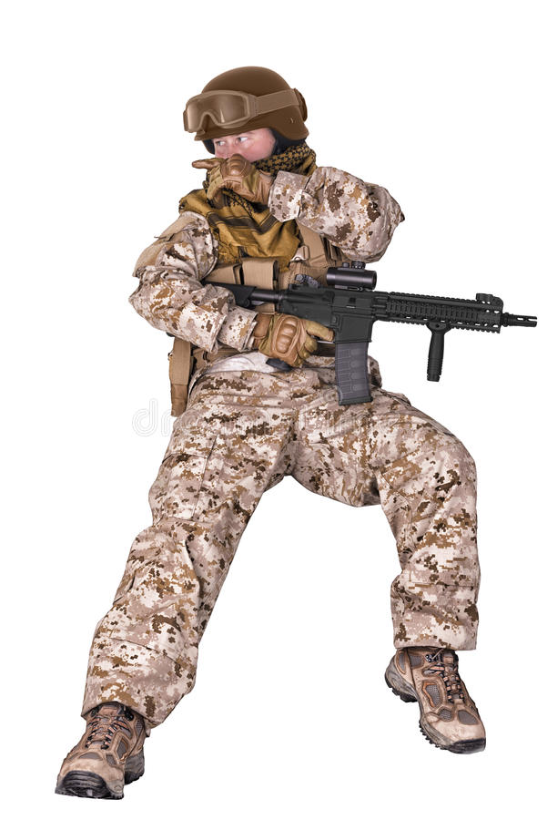 Soldier in uniform, ready to fight. stock photos