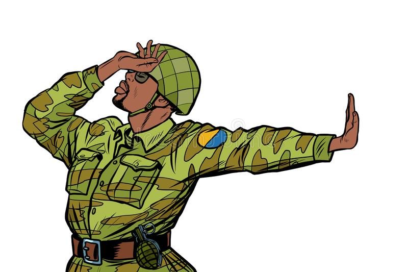 Soldier in uniform shame denial gesture no. anti militarism pacifist. Pop art retro vector Illustrator vintage kitsch drawing stock illustration