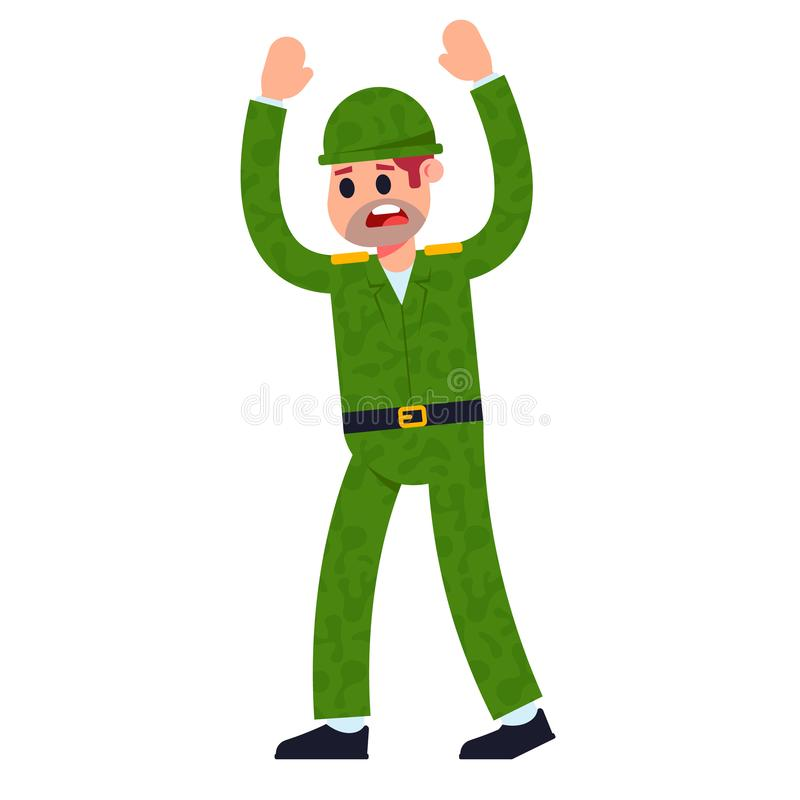 Soldier in uniform surrender. Flat character vector illustration on a white background stock illustration