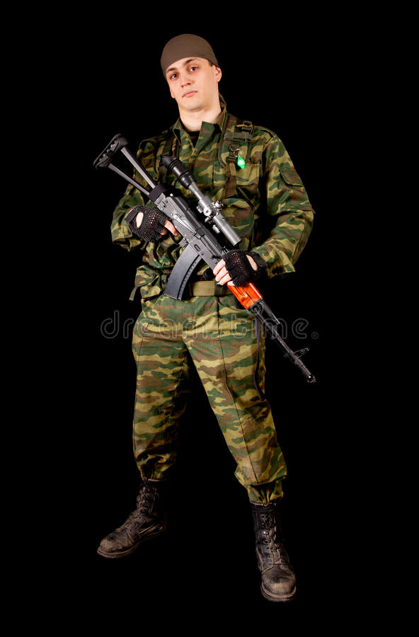 Download Soldier In Uniform With Weapon Stock Image - Image: 17970371