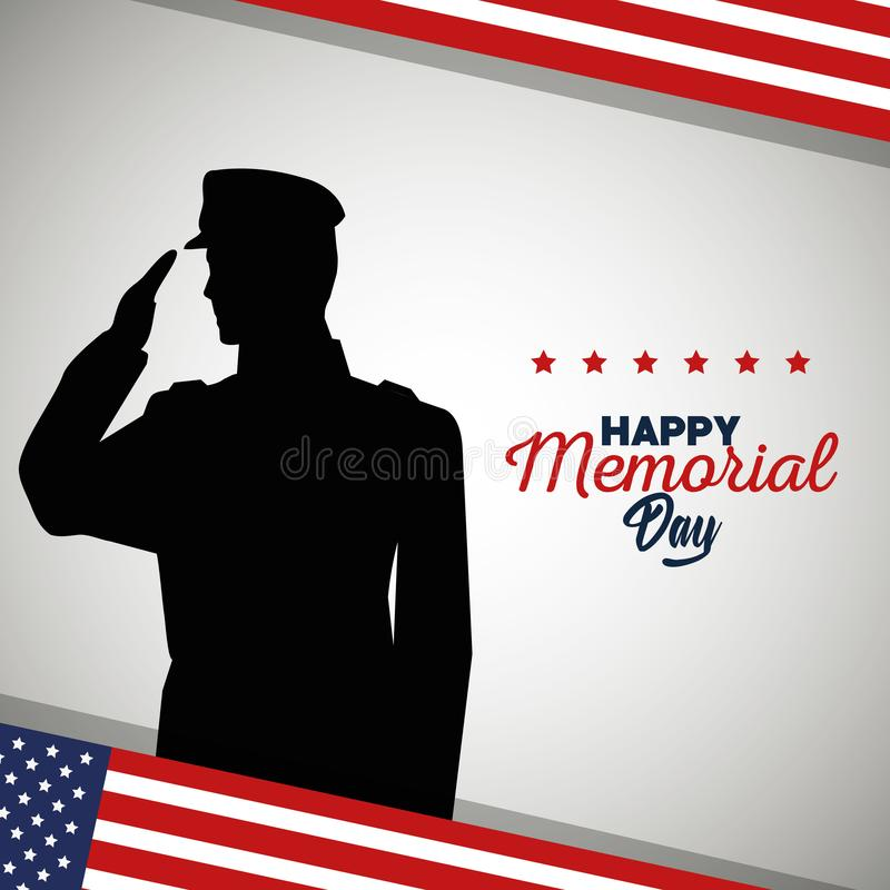 Soldier with usa flag to memorial day holiday royalty free illustration