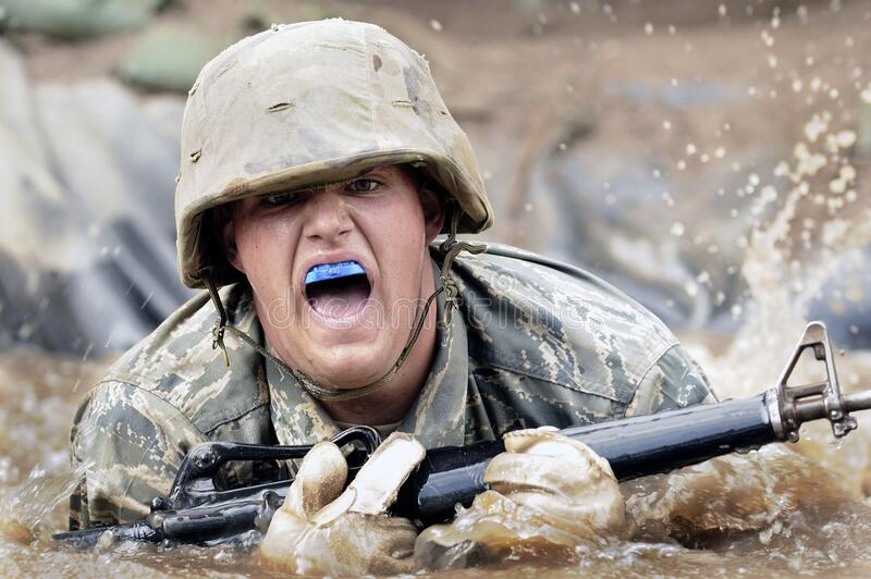 Soldier in water royalty free stock photos
