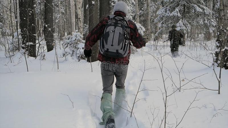 Soldier with weapons in cold forest. Winter warfare and military concept. Clip. Soldiers in winter forest on skis with stock image