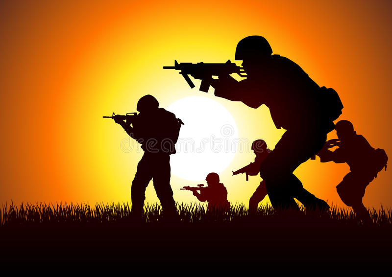 Soldiers. Silhouette illustration of a group of soldiers in assault formation