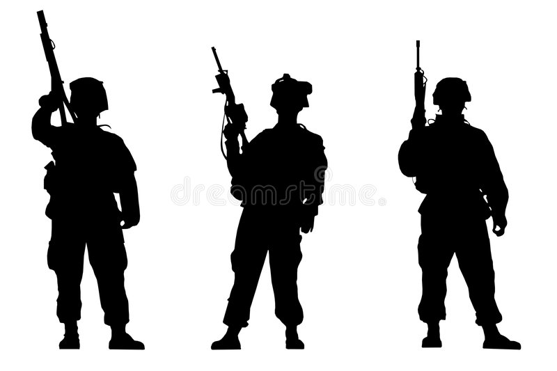 Download Soldiers stock illustration. Image of silhouette, brave - 5594491