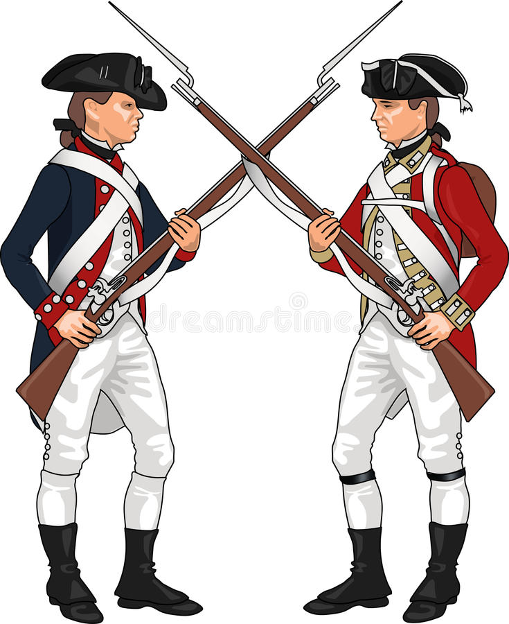 Soldiers From American Revolutionary War Stock Vector ...