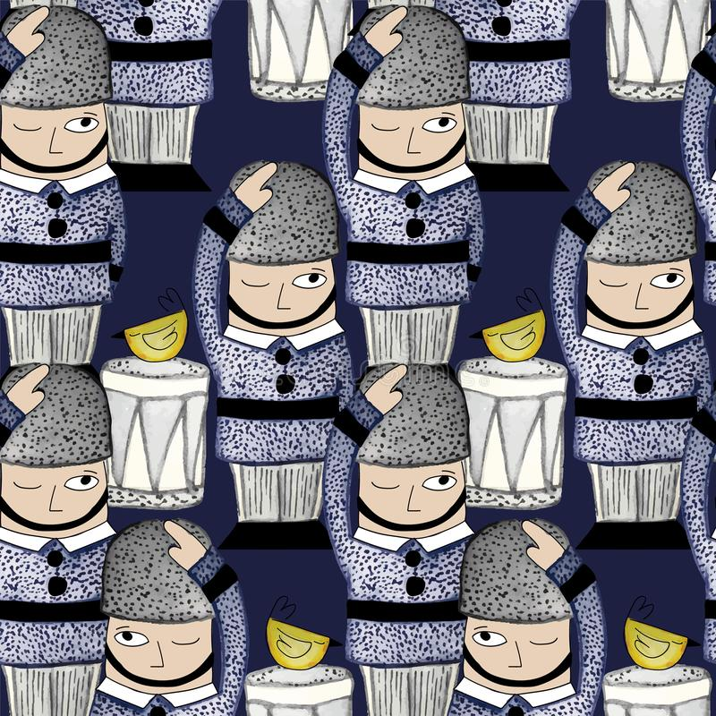 009-SOLDIERS C03 PAT-03. Queens Guard seamless Repeat print illustrated in watercolors stock illustration