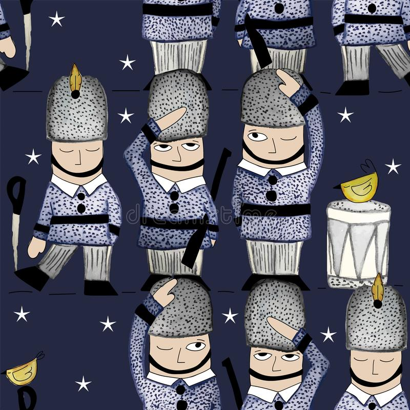 009-SOLDIERS C03 PAT-01. Queens Guard seamless Repeat print illustrated in watercolors stock illustration