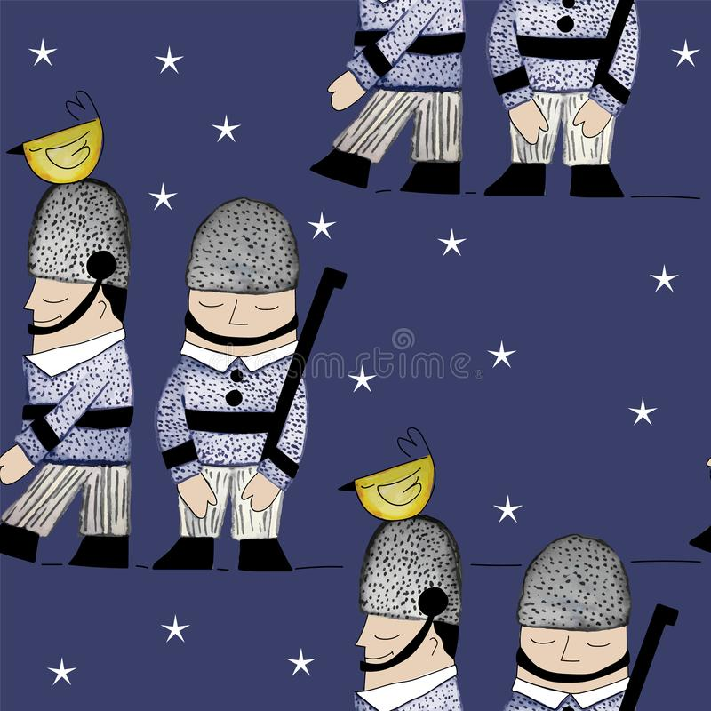 009-SOLDIERS C03 PAT-02. Queens Guard seamless Repeat print illustrated in watercolors vector illustration