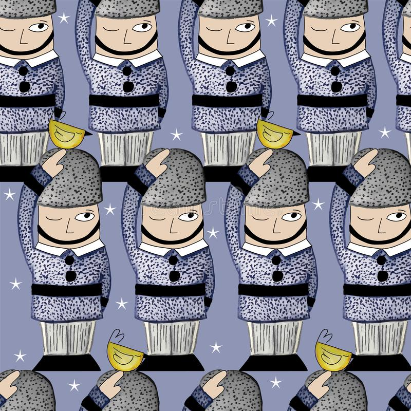 009-SOLDIERS C03 PAT-08. Queens Guard seamless Repeat print illustrated in watercolors stock illustration