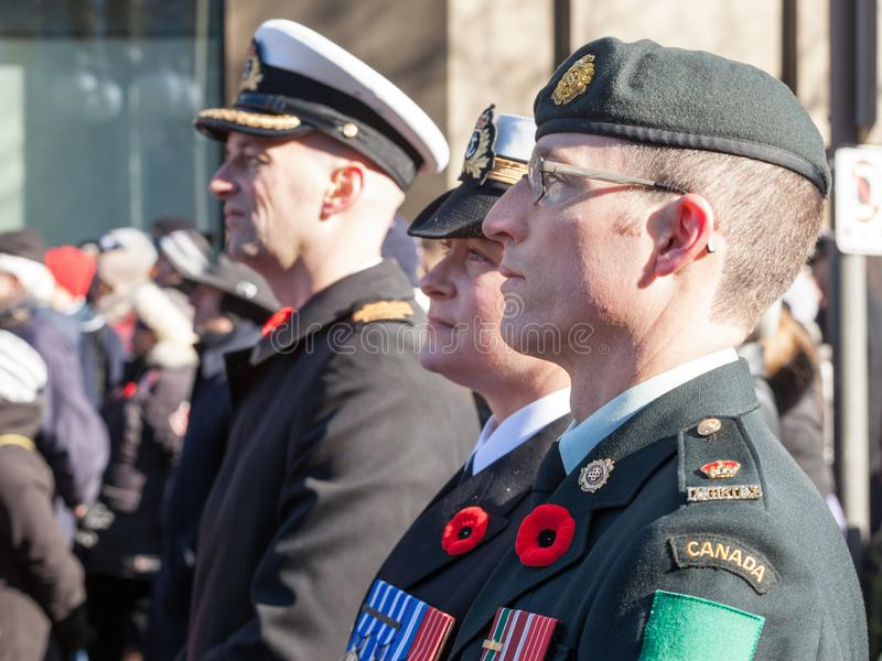 Soldiers from Canadian Army, two men, a woman, from Navy & ground forces, wearing remembrance poppy, standing on ceremony royalty free stock image