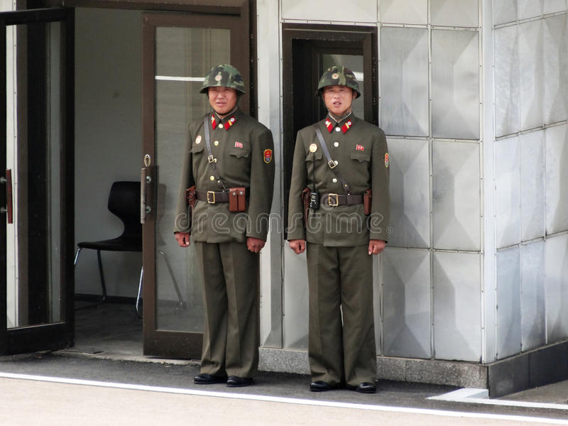 Soldiers at DMZ stock photos