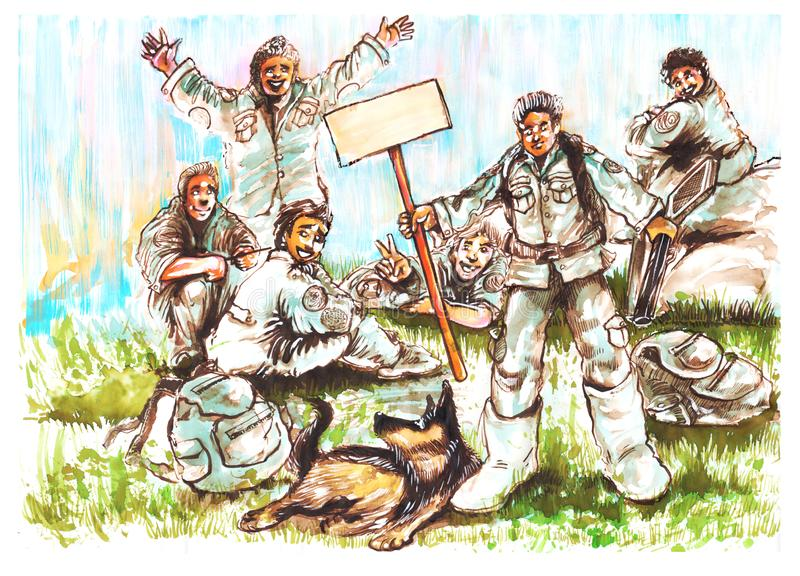 Soldiers and Dog K9 German Shepherd cartoon acting character painting design stock images