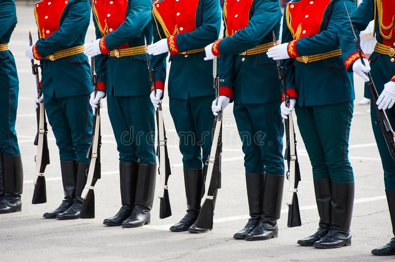 The parade of soldiers royalty free stock photography