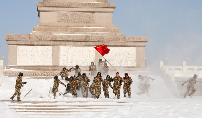 Download Soldiers Enjoy Snow In Tiananmen Square Editorial Stock Image - Image: 12497939