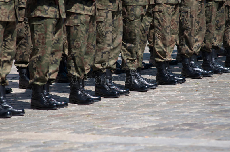 Soldiers in formation royalty free stock image