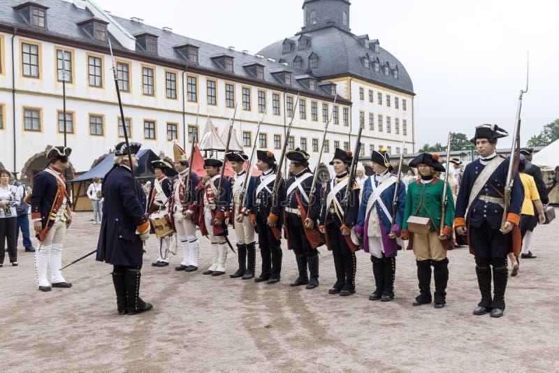 Soldiers of Frederick II the Great. Baroque Festiva, Schloss Friedenstein, Gotha, Germany, August 29, 2015, rank soldiers of Frederick II the Great royalty free stock photo