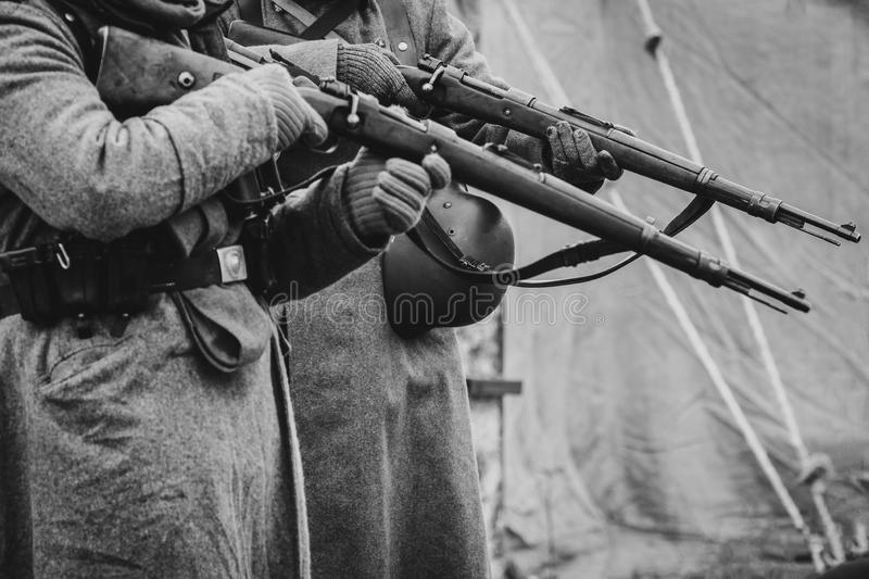 The soldiers of the German army the second world war with rifles royalty free stock photography