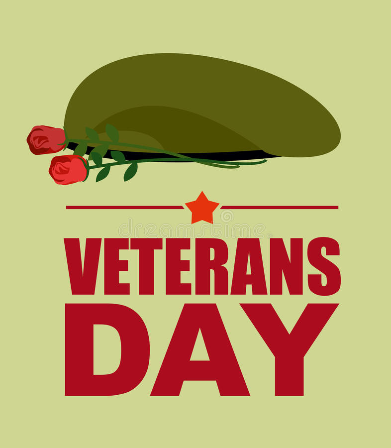 Soldiers green beret and flowers. Veterans Day. Vector illustrat stock illustration